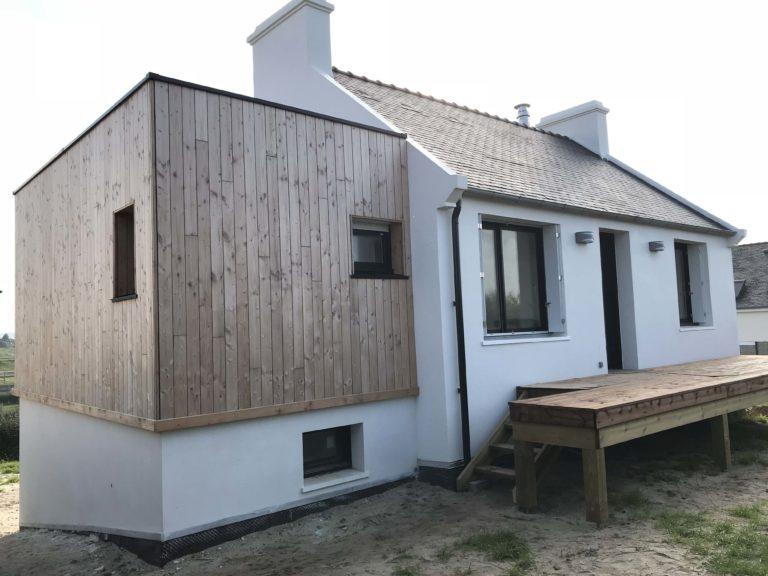 Rénovation - extension ossature boisn pin Douglas et terrasse bois