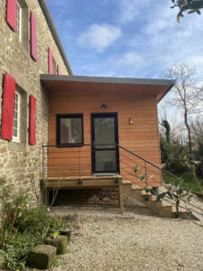 Architecte, Finistère, Extension, Ossature bois, Bardage Pin Douglas, Dalle Bois Contemporain Conception Agrandissement