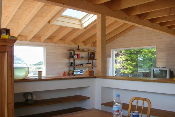 Maison en ossature bois, charpente apparente
