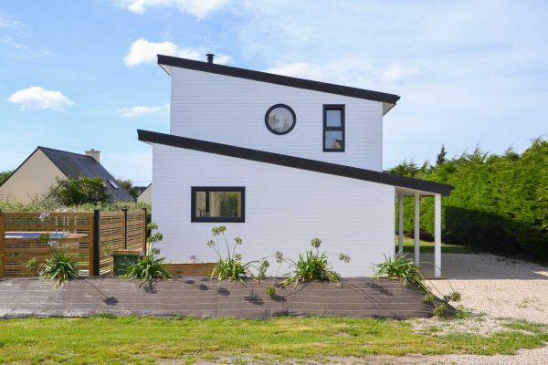 Maison ossature bois. toitures mono-pentes