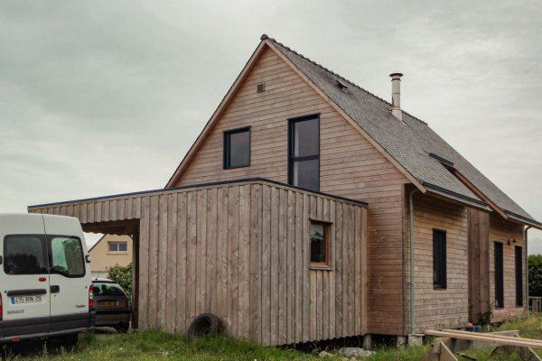Maison ossature bois avec dalle bois