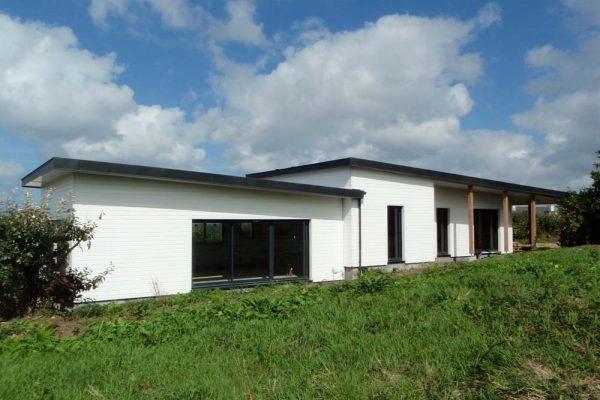 Maison ossature bois de plein pied, toits mono - pente